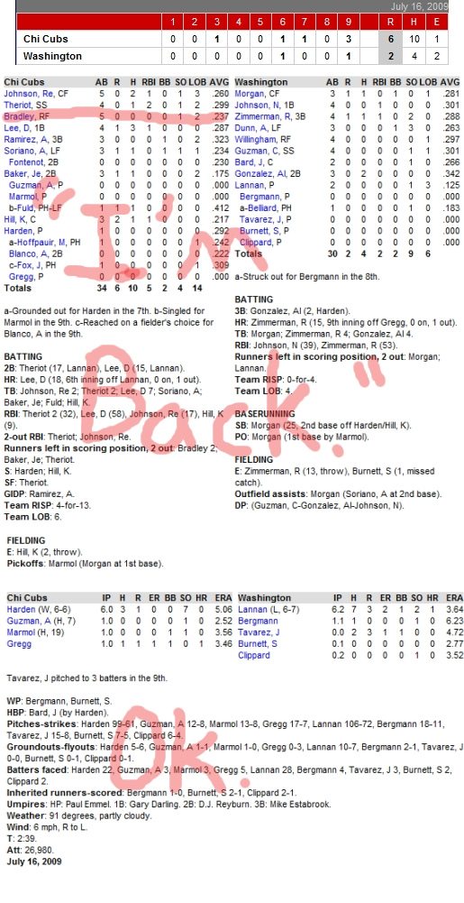 Enhanced Box Score: Cubs 6, Nationals 2 – July 16, 2009