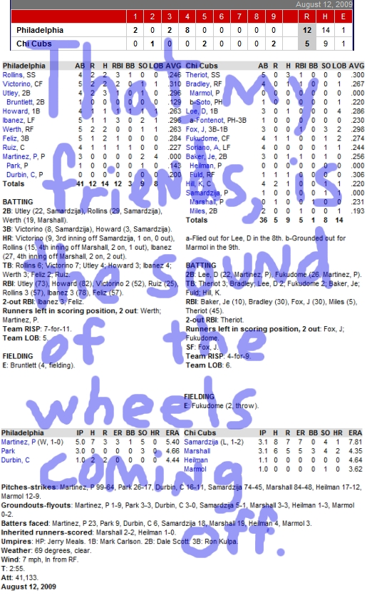 Enhanced Box Score: Phillies 12, Cubs 5 – August 12, 2009