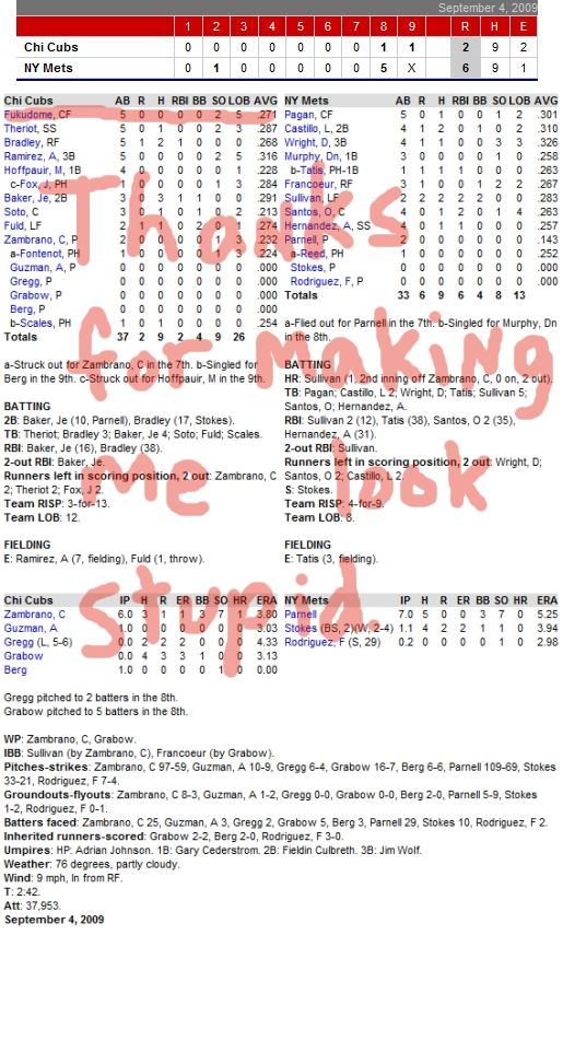 Enhanced Box Score: Cubs 2, Mets 6 – September 4, 2009