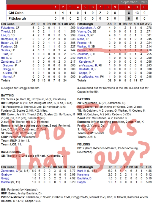 Enhanced Box Score: Cubs 8, Pirates 5 – September 9, 2009