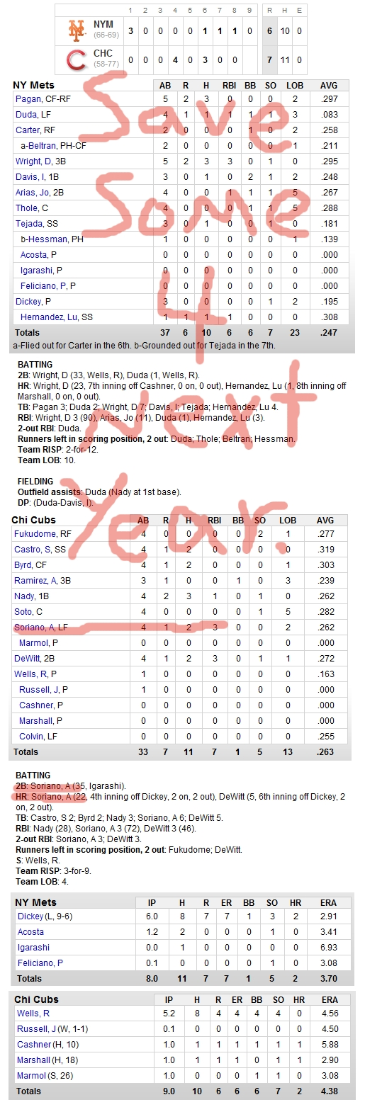 Enhanced Box Score: Mets 6, Cubs 7 – September 3, 2010