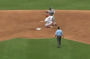 Watch Matt Holliday's Bush League Slide Into Starlin Castro