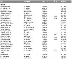 Cubs 2012 ST Broadcast Schedule