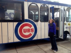 wife by cubs bus at CubsCon