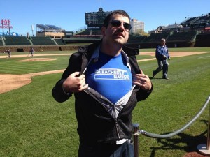 josh in bleacher nation shirt at wrigley