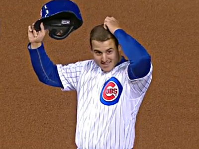 anthony rizzo on base smile helmet