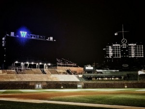 wintrust cubs win blue sign