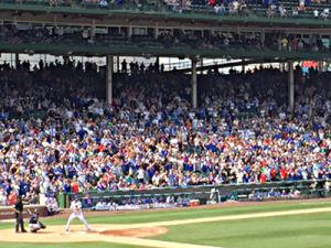 wrigley fans standing at bat