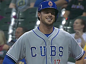 kris bryant smile on base