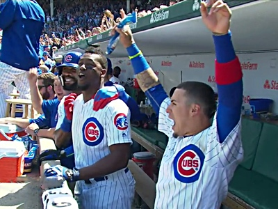cubs homer party baez happy