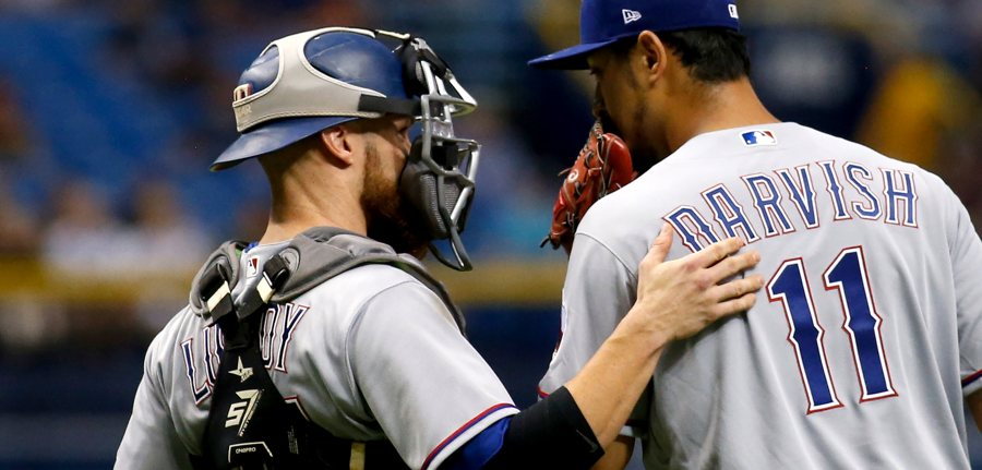 Jonathan-lucroy-and-yu-darvish-rangers-talking-photo-by-brian-blancogetty-images