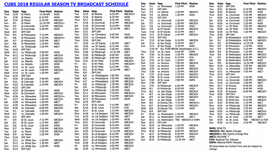 Chicago Cubs Announce 2018 Tv Broadcast Schedule