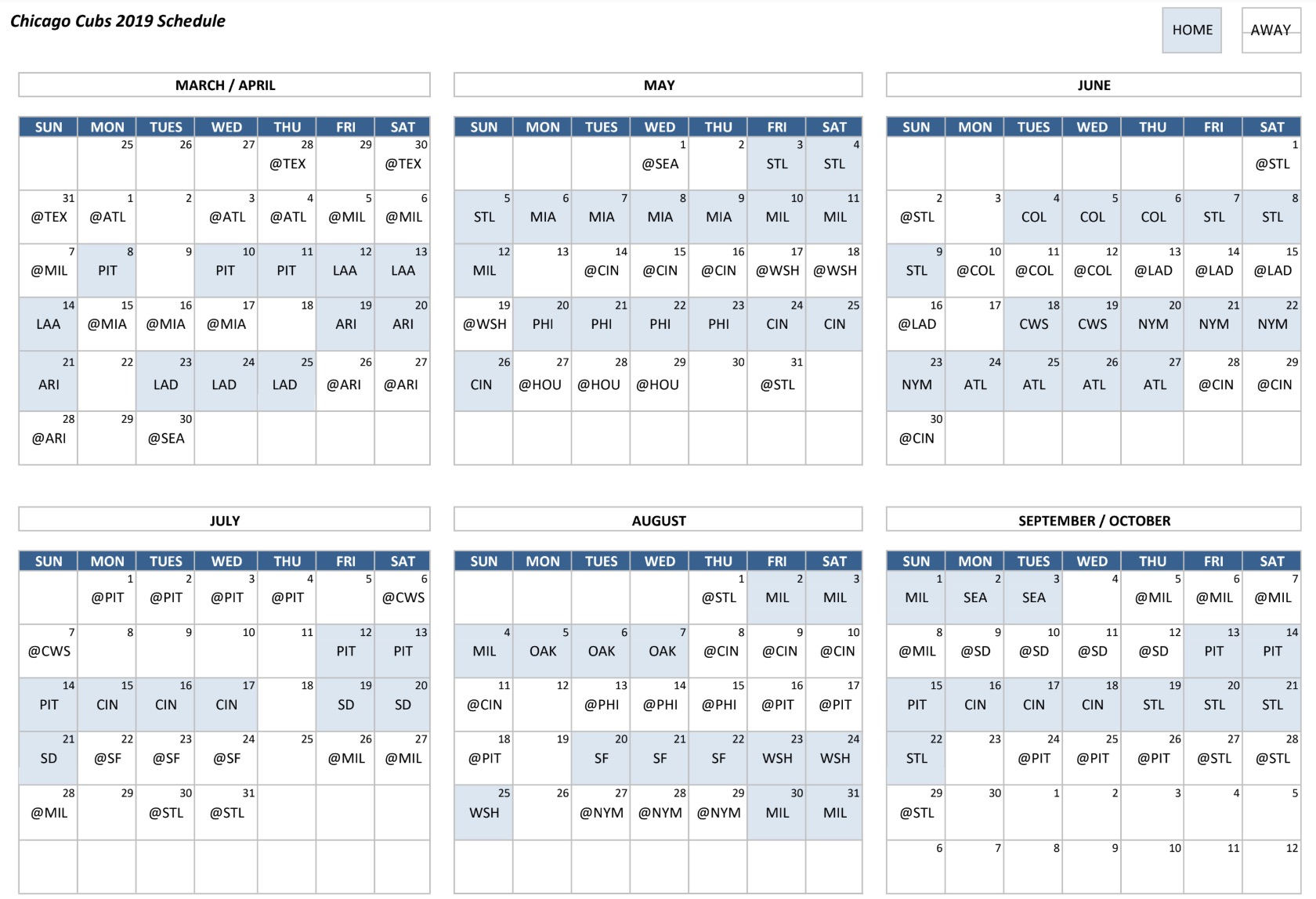 The Chicago Cubs 2019 Schedule Is Here