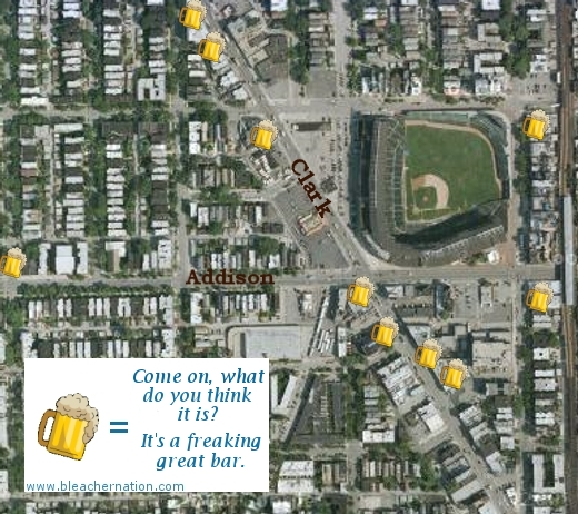 wrigley field rooftops map